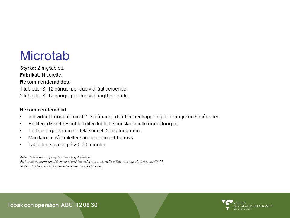 Microtab Styrka: 2 mg/tablett. Fabrikat: Nicorette. Rekommenderad dos: