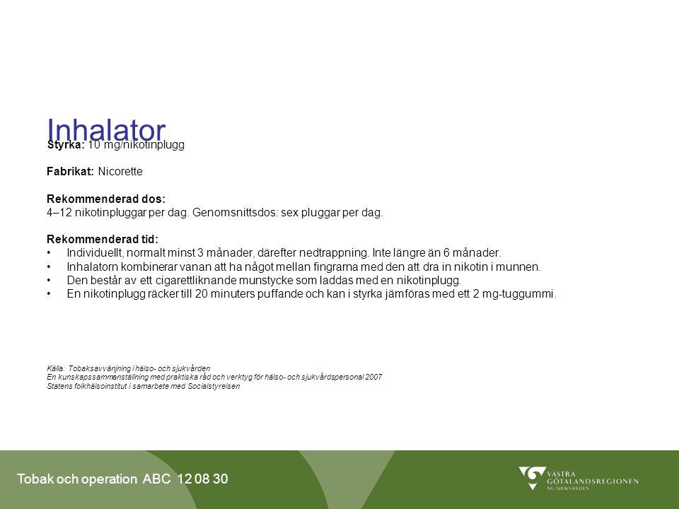 Inhalator Styrka: 10 mg/nikotinplugg Fabrikat: Nicorette