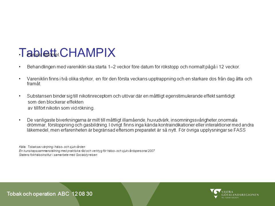 Tablett CHAMPIX Peroral tillförsel.
