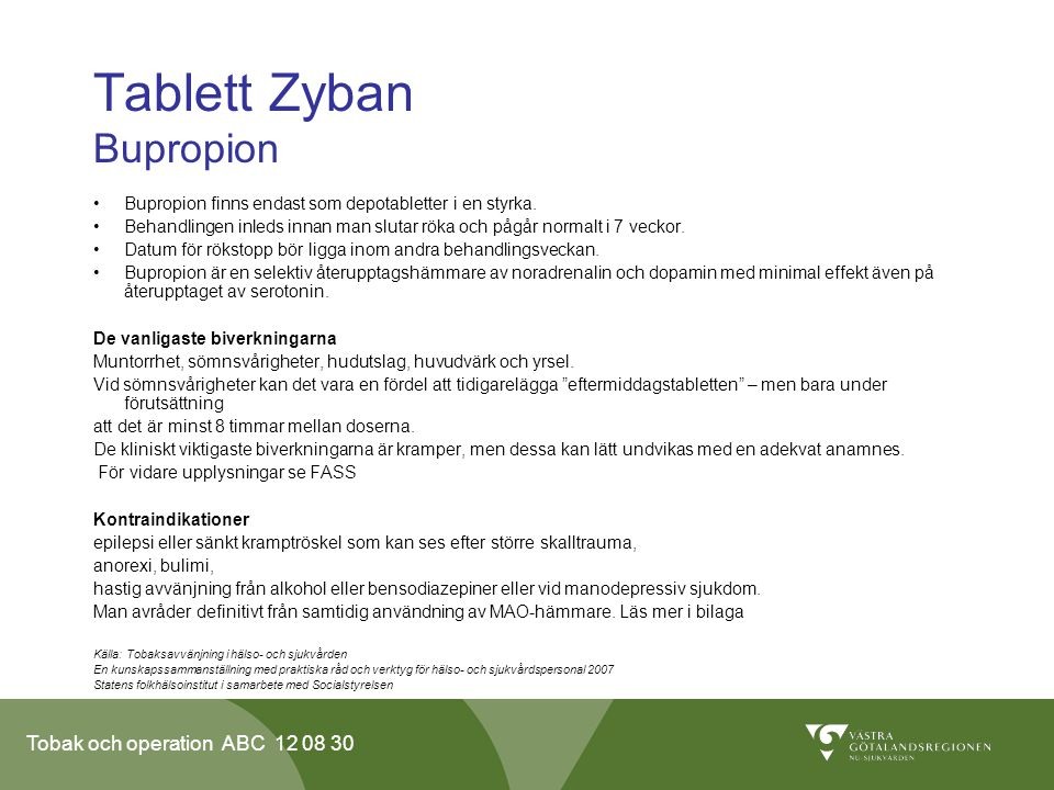 Tablett Zyban Bupropion