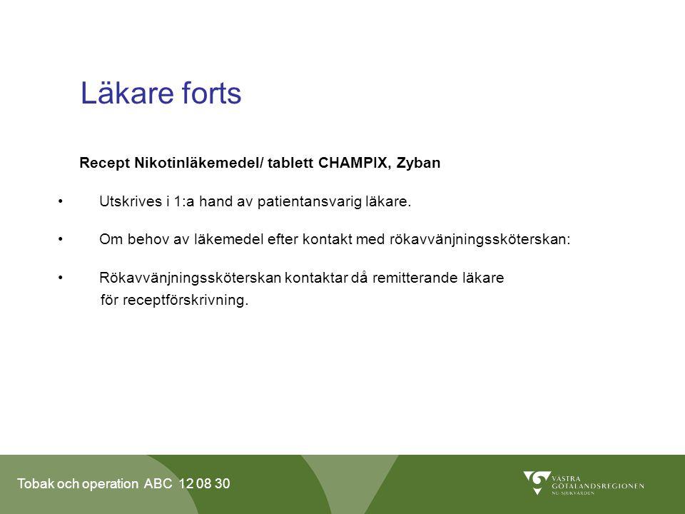 Läkare forts Recept Nikotinläkemedel/ tablett CHAMPIX, Zyban