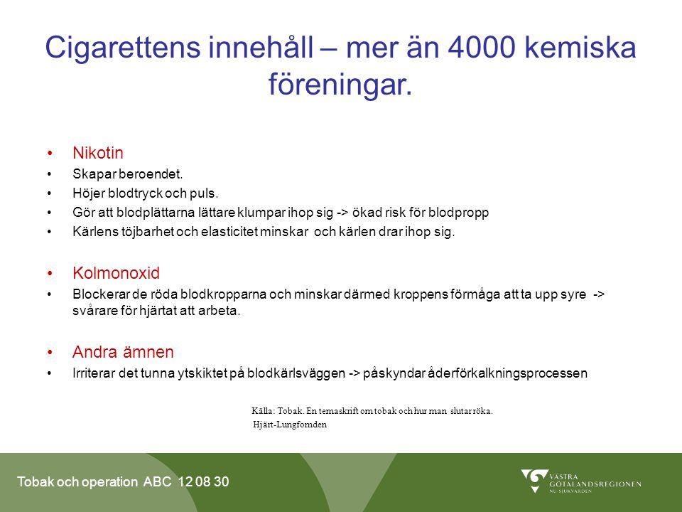 Cigarettens innehåll – mer än 4000 kemiska föreningar.