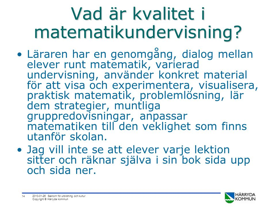 Vad är kvalitet i matematikundervisning