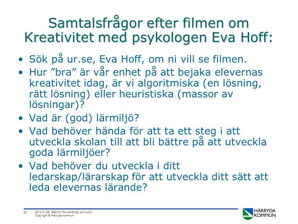 Samtalsfrågor efter filmen om Kreativitet med psykologen Eva Hoff: