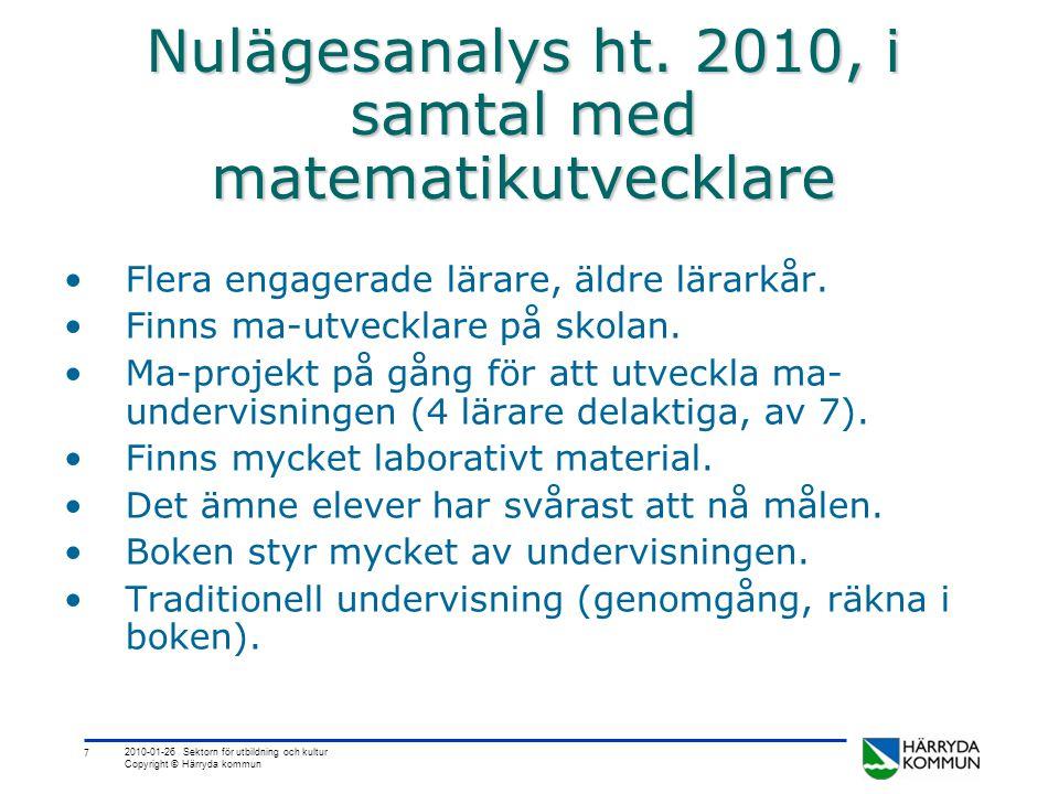 Nulägesanalys ht. 2010, i samtal med matematikutvecklare