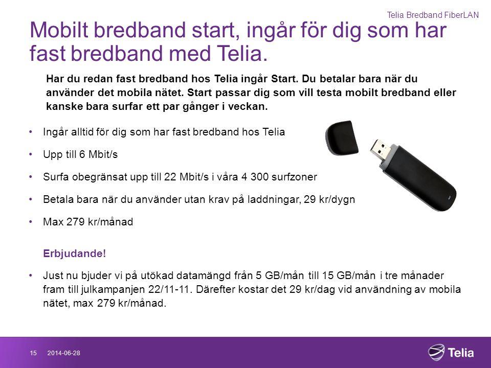 Mobilt bredband start, ingår för dig som har fast bredband med Telia.