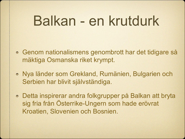 Balkan - en krutdurk Genom nationalismens genombrott har det tidigare så mäktiga Osmanska riket krympt.