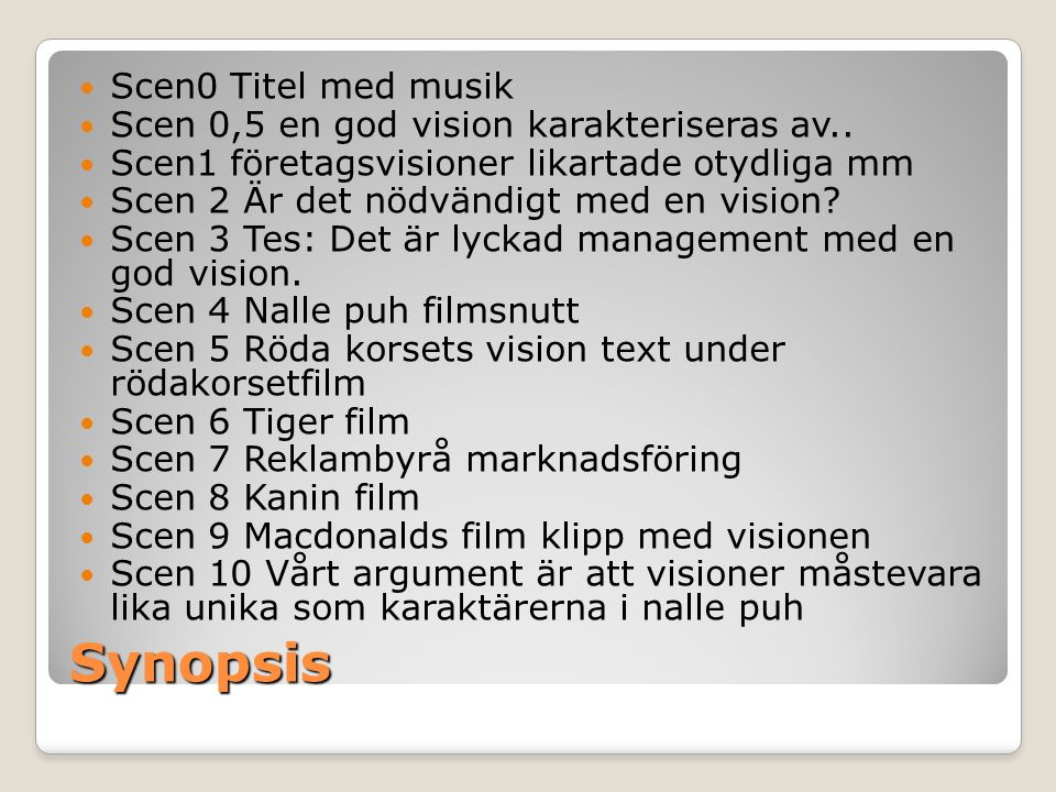 Synopsis Scen0 Titel med musik