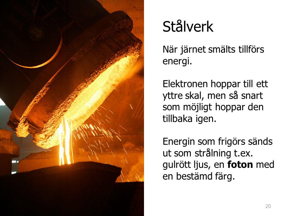 Stålverk När järnet smälts tillförs energi. Elektronen hoppar till ett