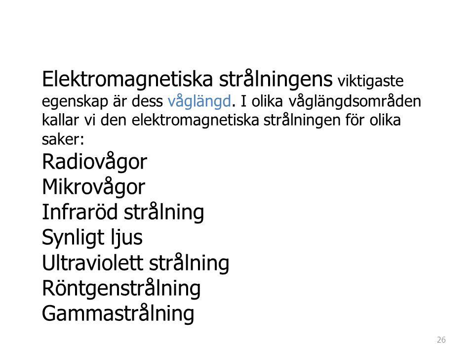 Elektromagnetiska strålningens viktigaste egenskap är dess våglängd