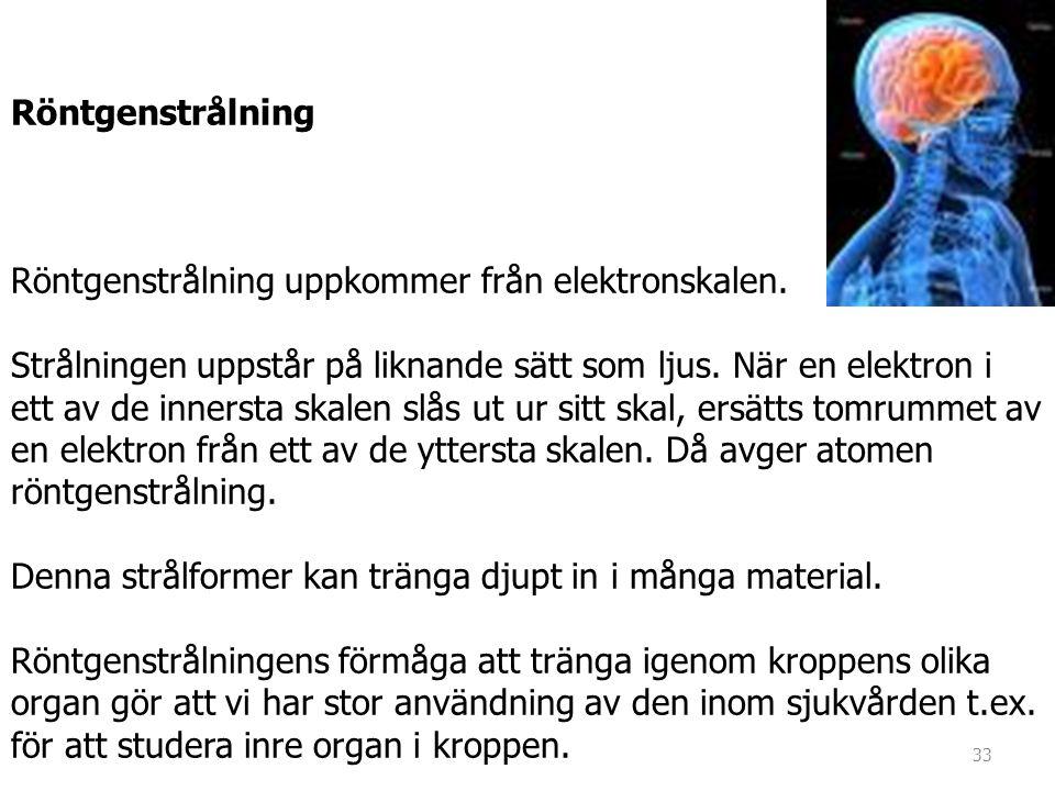 Röntgenstrålning Röntgenstrålning uppkommer från elektronskalen.