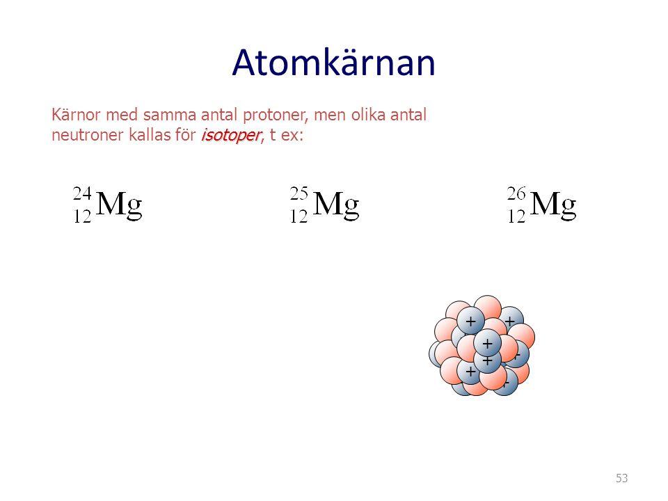 Atomkärnan Kärnor med samma antal protoner, men olika antal