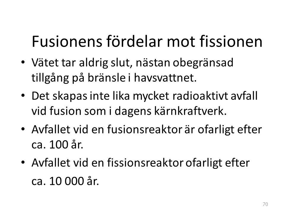 Fusionens fördelar mot fissionen