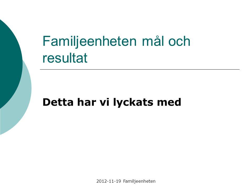 Familjeenheten mål och resultat