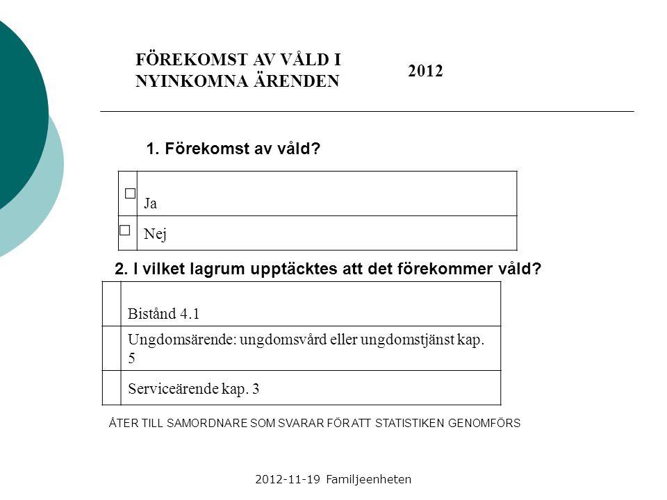 FÖREKOMST AV VÅLD I NYINKOMNA ÄRENDEN 2012