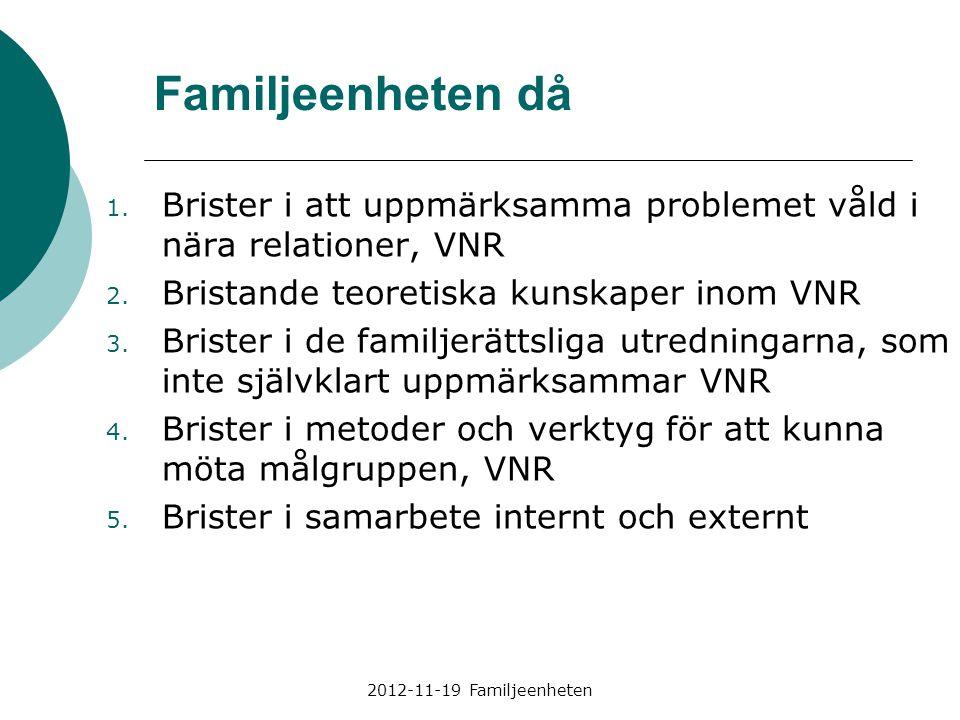 Familjeenheten då Brister i att uppmärksamma problemet våld i nära relationer, VNR. Bristande teoretiska kunskaper inom VNR.