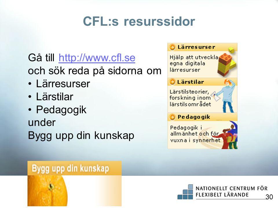 CFL:s resurssidor Gå till http://www.cfl.se och sök reda på sidorna om