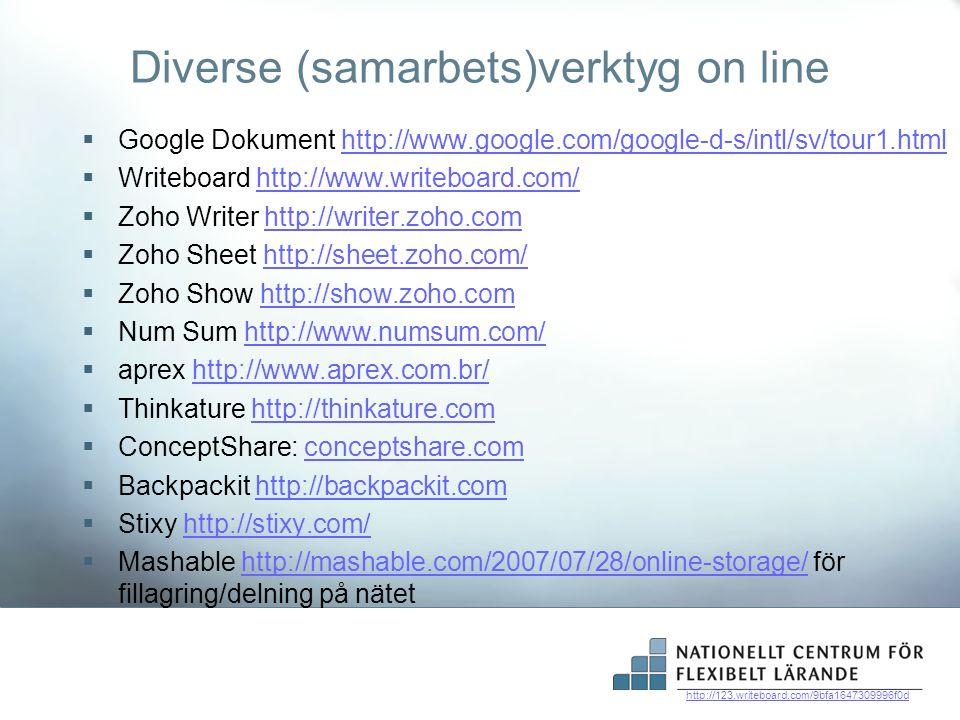 Diverse (samarbets)verktyg on line
