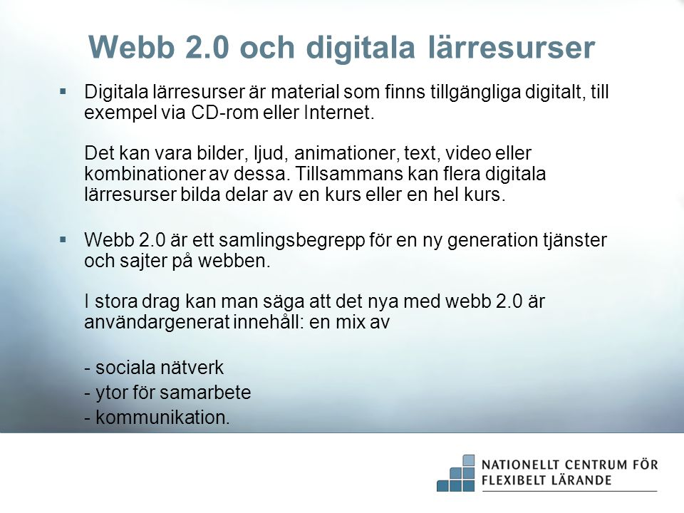 Webb 2.0 och digitala lärresurser