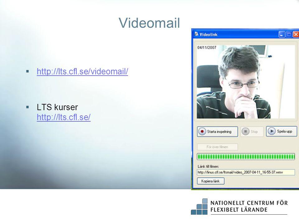 Videomail http://lts.cfl.se/videomail/ LTS kurser http://lts.cfl.se/