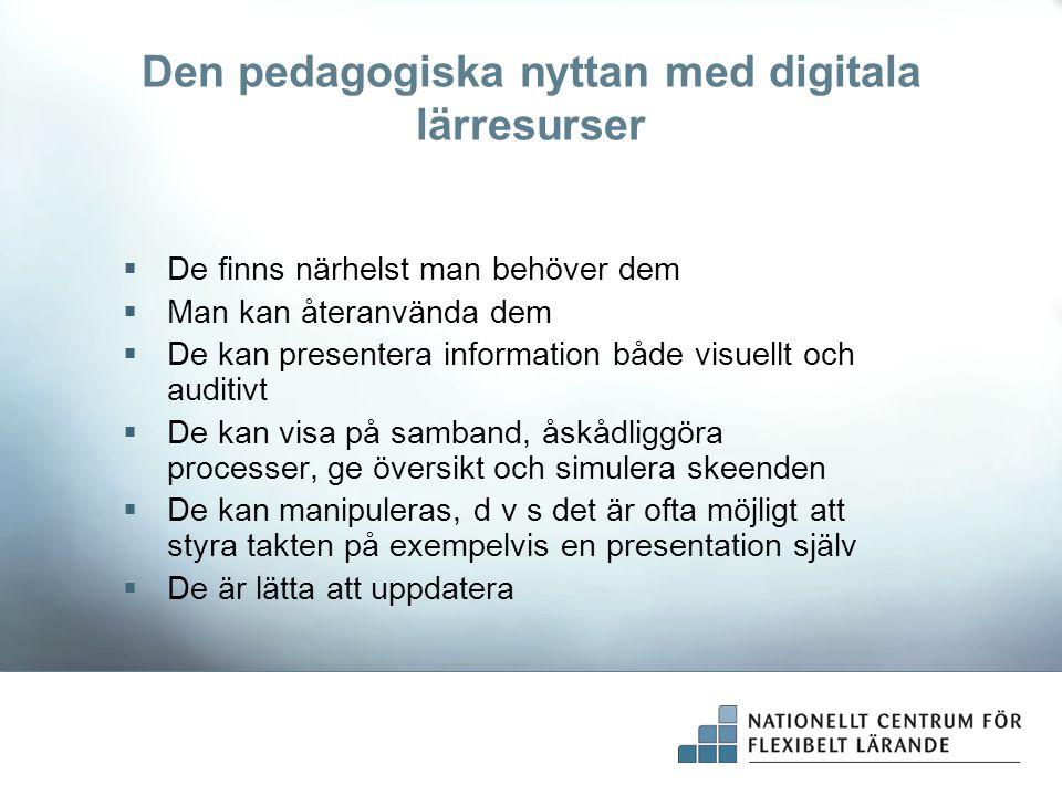 Den pedagogiska nyttan med digitala lärresurser