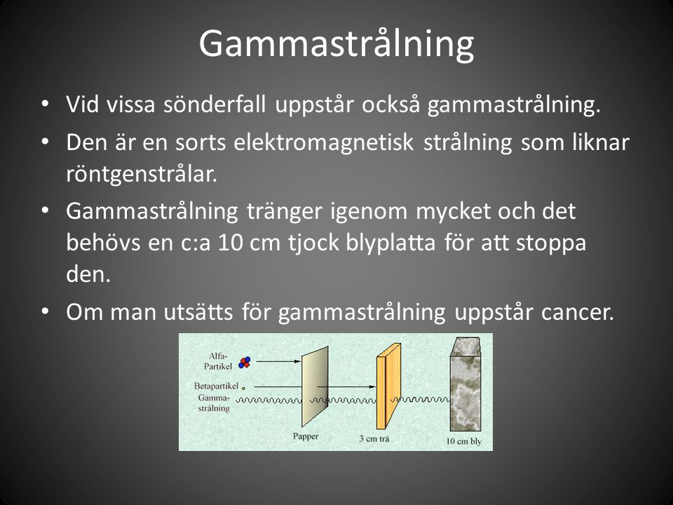 Gammastrålning Vid vissa sönderfall uppstår också gammastrålning.