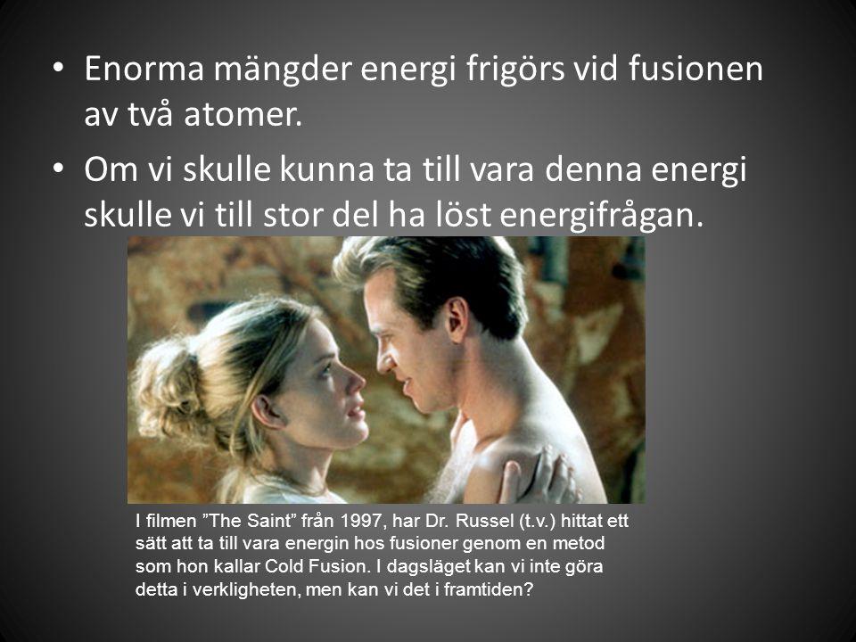 Enorma mängder energi frigörs vid fusionen av två atomer.