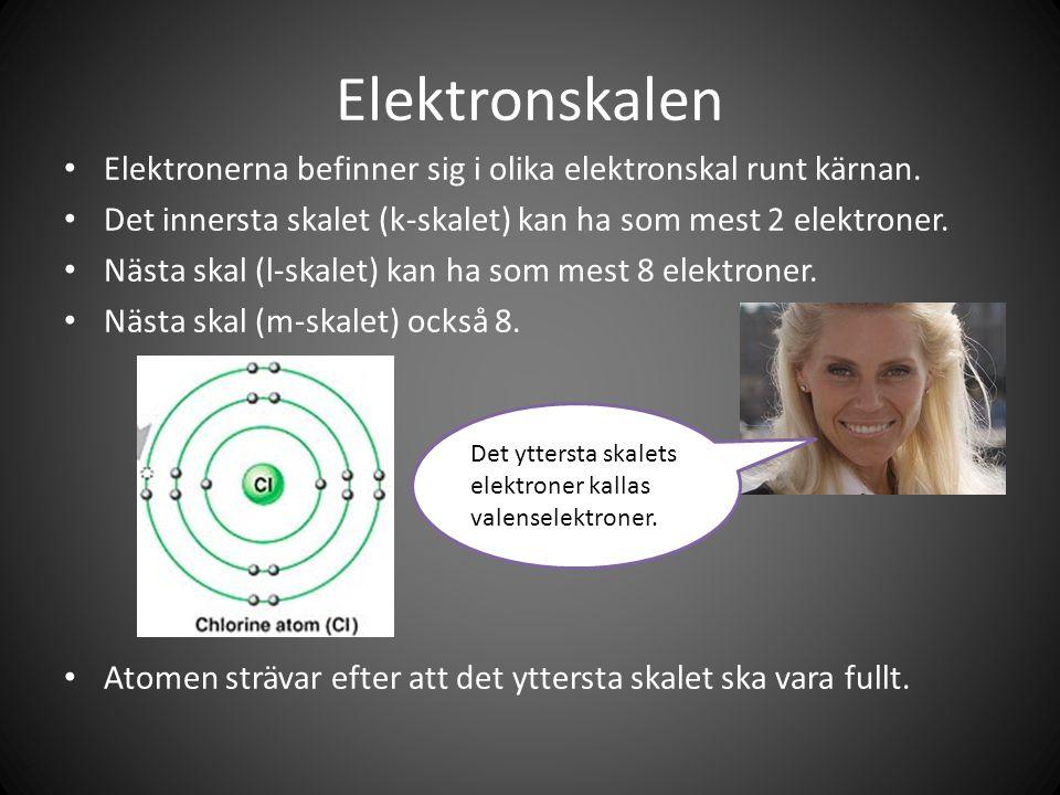 Elektronskalen Elektronerna befinner sig i olika elektronskal runt kärnan. Det innersta skalet (k-skalet) kan ha som mest 2 elektroner.