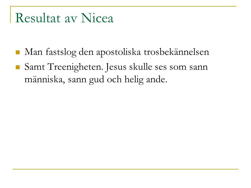 Resultat av Nicea Man fastslog den apostoliska trosbekännelsen