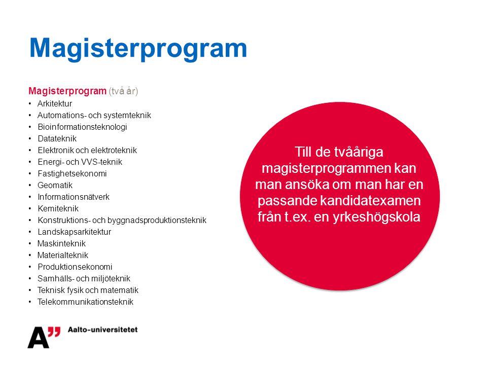 Magisterprogram Magisterprogram (två år) Arkitektur. Automations- och systemteknik. Bioinformationsteknologi.