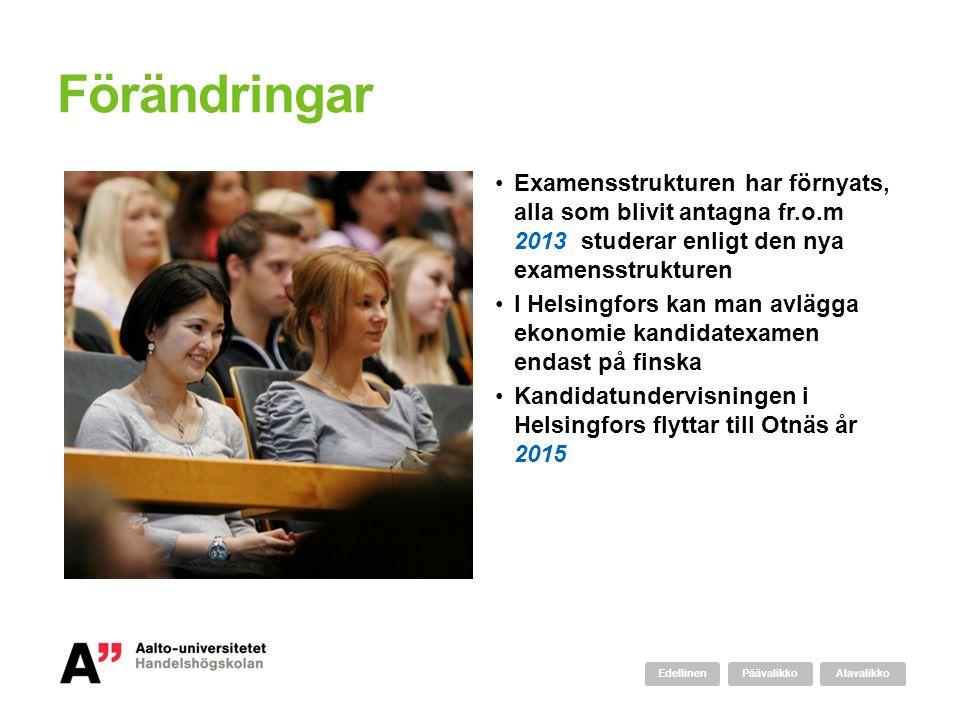 Förändringar Examensstrukturen har förnyats, alla som blivit antagna fr.o.m 2013 studerar enligt den nya examensstrukturen.
