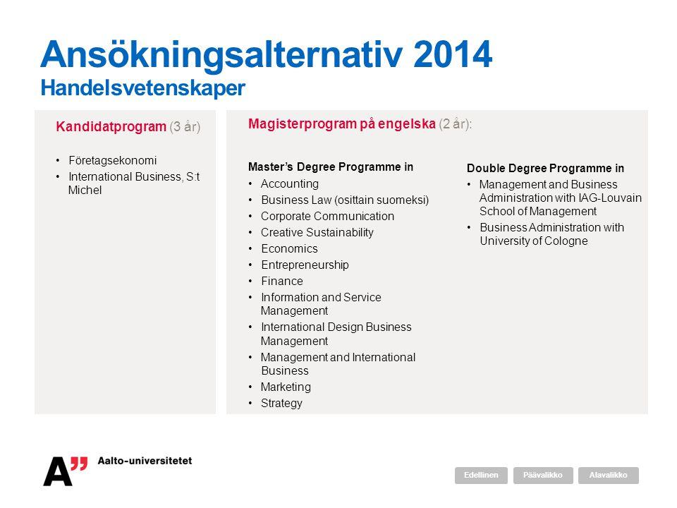 Ansökningsalternativ 2014 Handelsvetenskaper