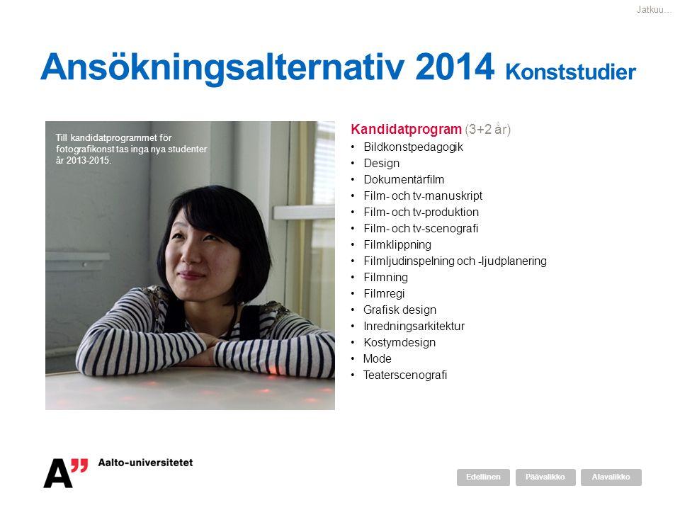 Ansökningsalternativ 2014 Konststudier