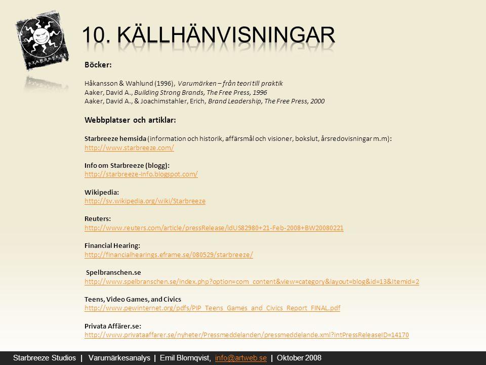 10. Källhänvisningar Böcker: Webbplatser och artiklar: