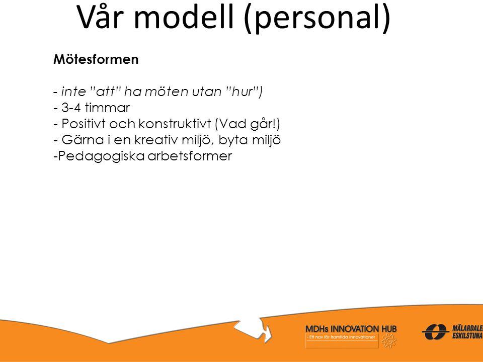 Vår modell (personal) Mötesformen - inte att ha möten utan hur )