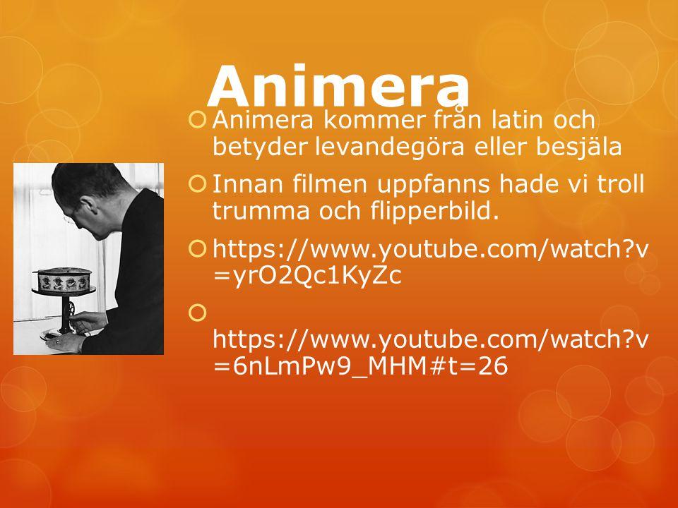 Animera Animera kommer från latin och betyder levandegöra eller besjäla. Innan filmen uppfanns hade vi troll trumma och flipperbild.