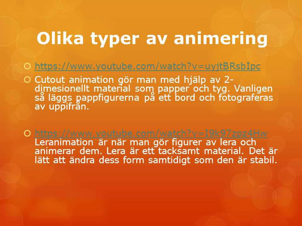 Olika typer av animering