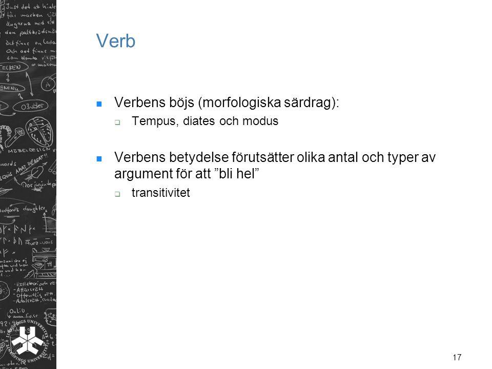 Verb Verbens böjs (morfologiska särdrag):
