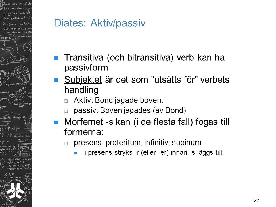 Diates: Aktiv/passiv Transitiva (och bitransitiva) verb kan ha passivform. Subjektet är det som utsätts för verbets handling.