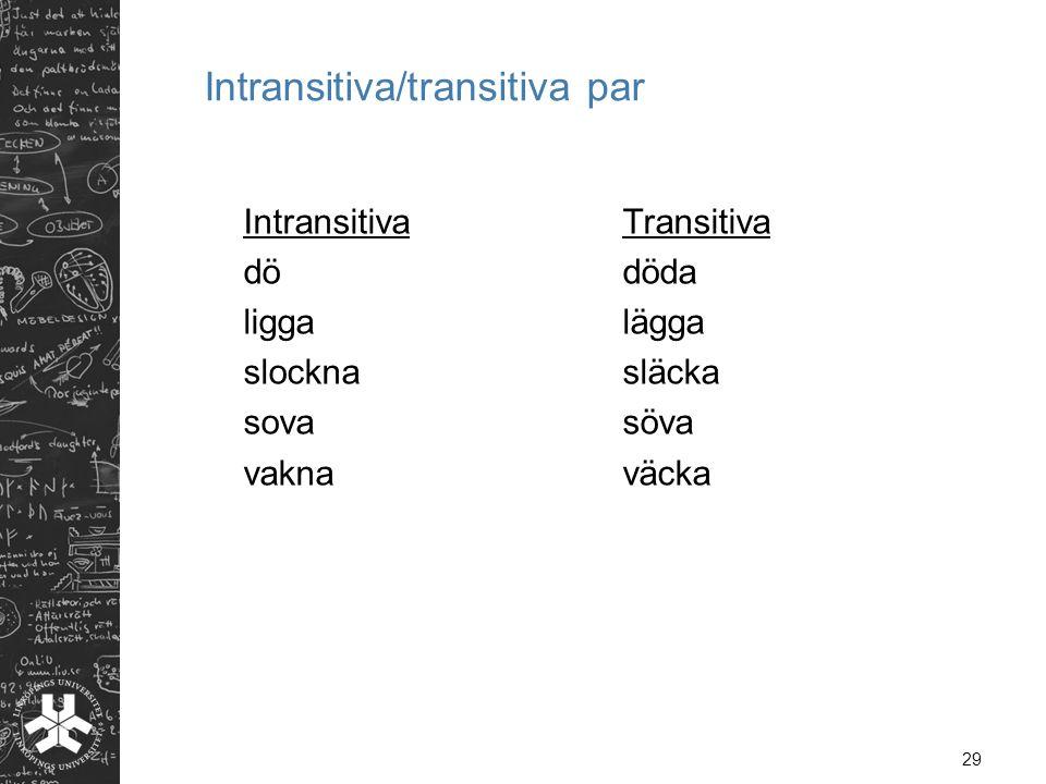 Intransitiva/transitiva par