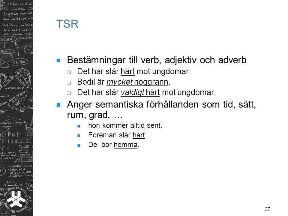 TSR Bestämningar till verb, adjektiv och adverb