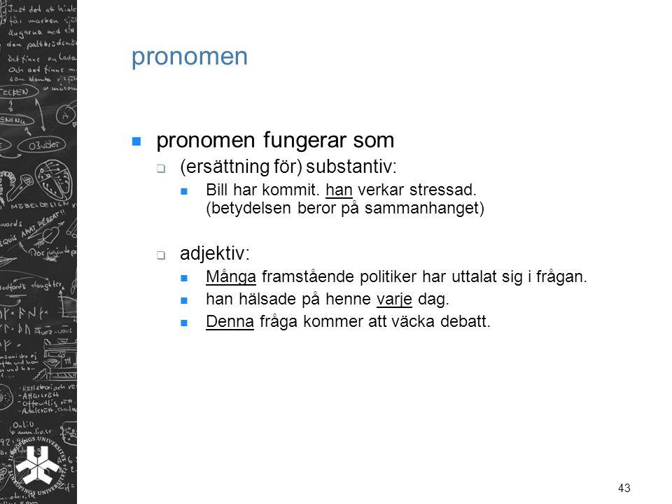 pronomen pronomen fungerar som (ersättning för) substantiv: adjektiv: