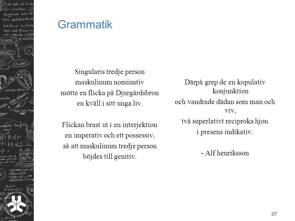 Grammatik Singularis tredje person maskulinum nominativ