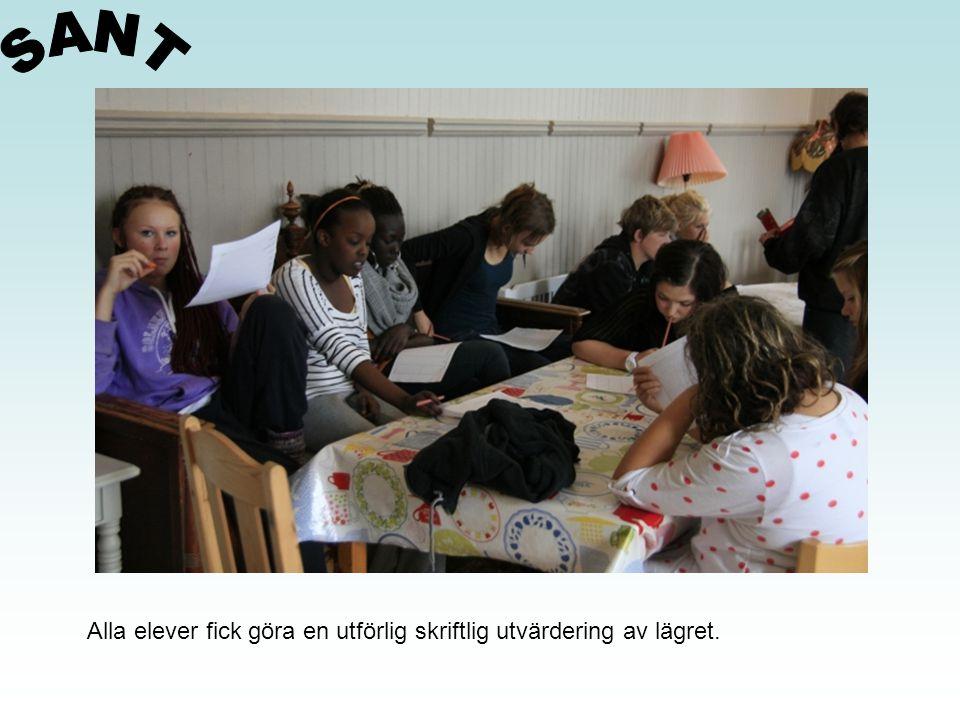SANT Alla elever fick göra en utförlig skriftlig utvärdering av lägret.