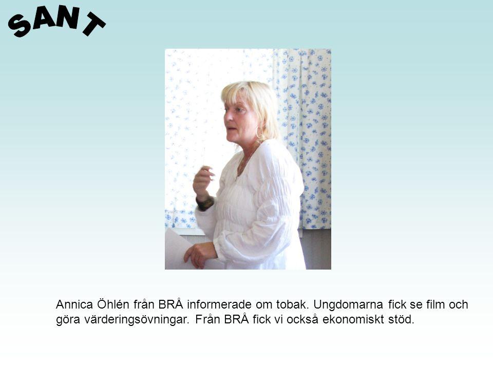 SANT Annica Öhlén från BRÅ informerade om tobak. Ungdomarna fick se film och.