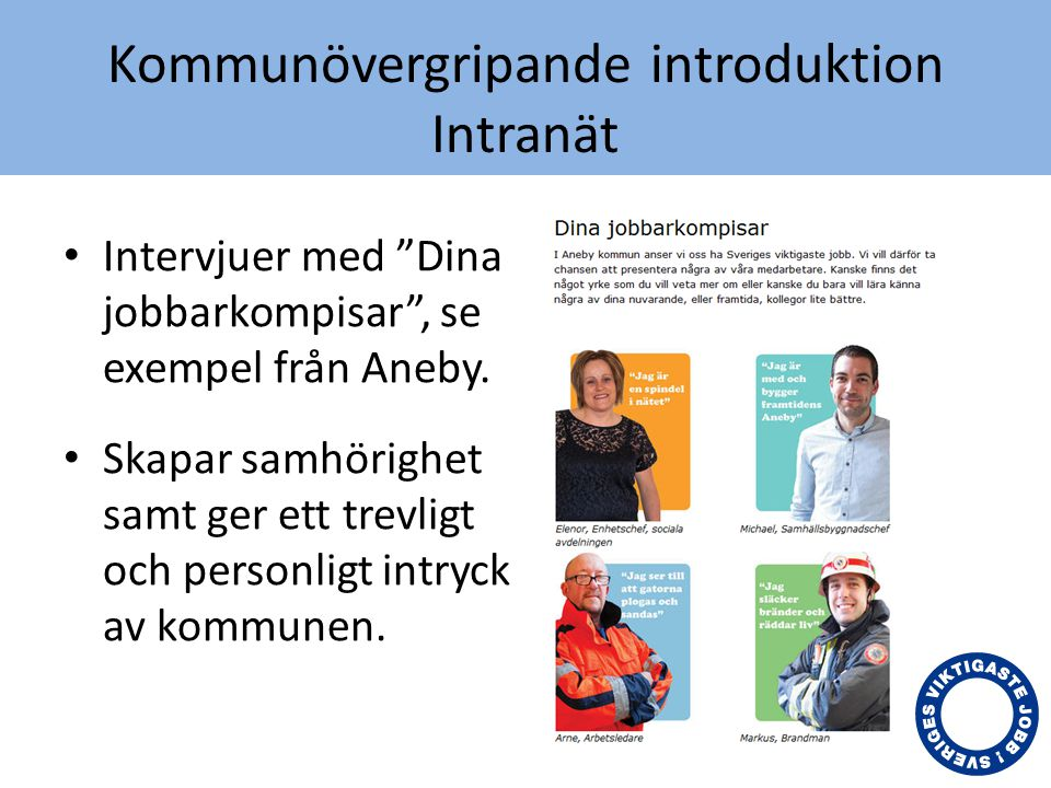 Kommunövergripande introduktion Intranät