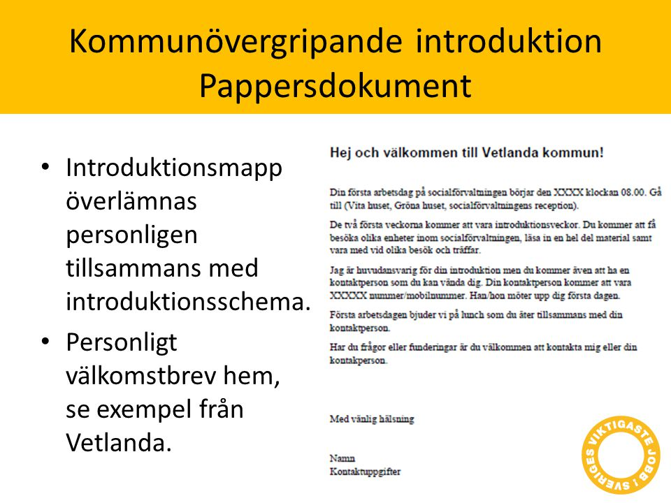 Kommunövergripande introduktion Pappersdokument