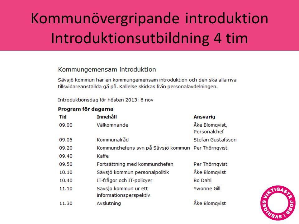 Kommunövergripande introduktion Introduktionsutbildning 4 tim