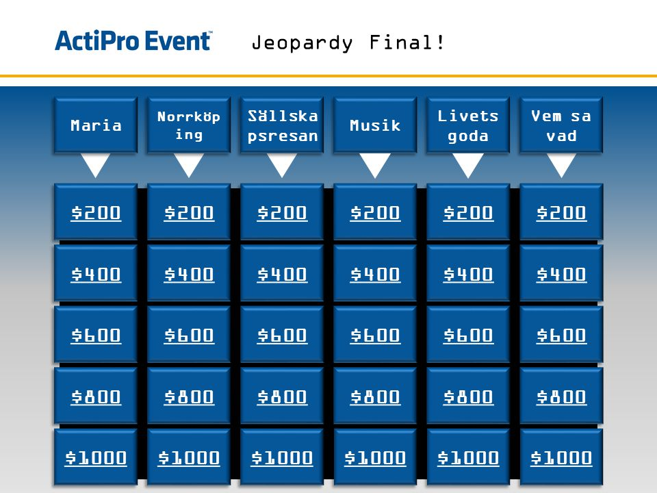 Jeopardy Final! $200 $200 $200 $200 $200 $200 $400 $400 $400 $400 $400