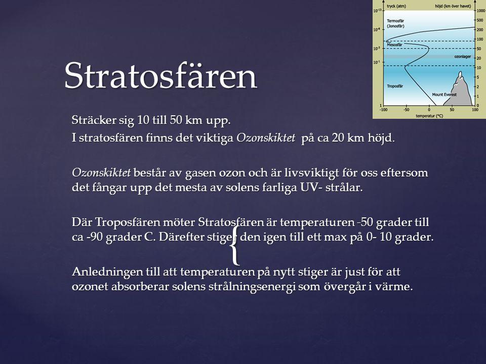 Stratosfären Sträcker sig 10 till 50 km upp.